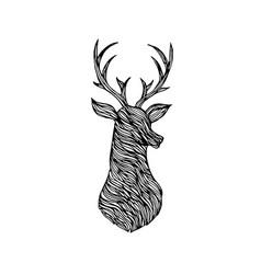 doodle deer silhouette vector image vector image