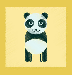 Flat shading style icon panda bear vector