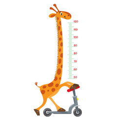 Giraffe on scooter meter wall or height chart vector