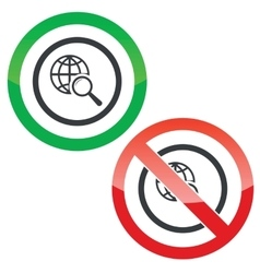 Global search permission signs vector