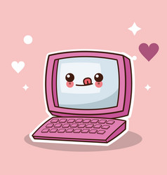 Kawaii computer technology image vector
