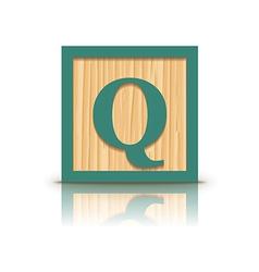 Letter q wooden alphabet block vector
