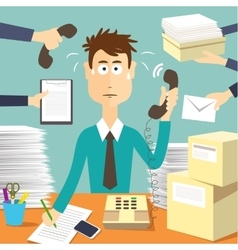 Man secretary hard working vector image