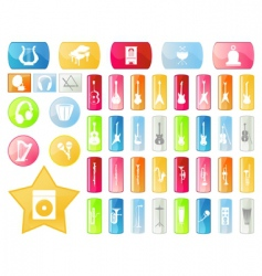 musical buttons vector image vector image