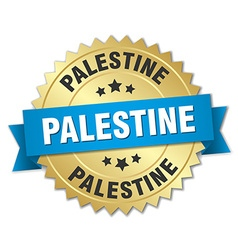 Palestine round golden badge with blue ribbon vector