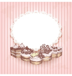 Pink retro background with hand drawn cakes vector