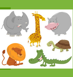 Safari animal characters set vector
