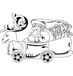 Santa claus driving car with christmas gifts vector