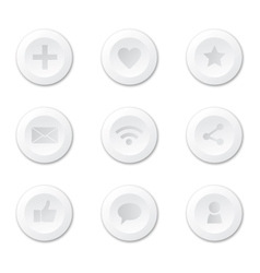 Set of white round internet icons vector image