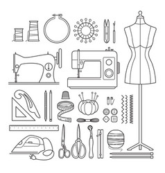 sewing kit outline icons set vector image vector image