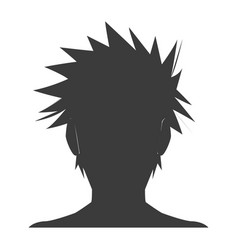 Silhouette head boy anime avatar image vector