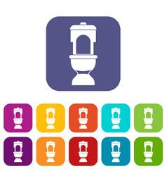 Toilet bowl icons set vector