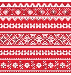 Ukrainian folk emboidery white pattern on red vector
