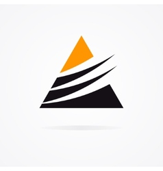 Unusual triangle logo in black and orange colors vector image vector image