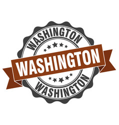 Washington round ribbon seal vector