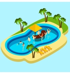 Water park and friends vector