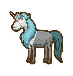 White background with realistic unicorn and thick vector