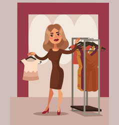 woman character can not choose dress vector image