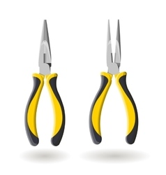 Set of two yellow long nose pliers isolated on vector