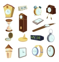 Different clocks icons set cartoon style vector