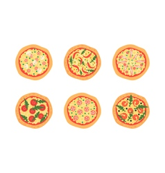 Pizzas with different toppings  cartoon stylized vector