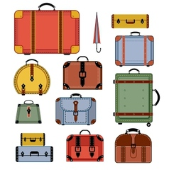 Retro travel bags vector