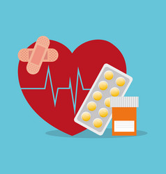 Sick heartbeat healthy medicine bottle pills vector