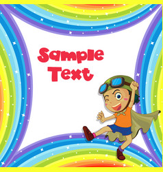 Background template with boy in hero outfit vector