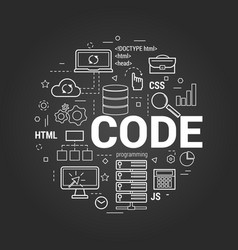 Coding concept on black vector
