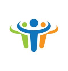 abstract human teamwork logo vector image