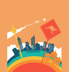 Travel australia world landmark landscape vector