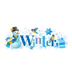 Winter text lettering logo snowman vector