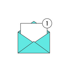 outline green email notification icon vector image