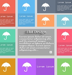 Umbrella icon sign set of multicolored buttons vector