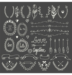 Hand drawn graphic set Wedding set of arrows vector image