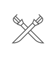 Crossed saber line icon vector