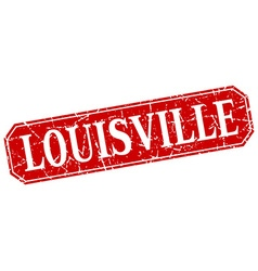 Louisville red square grunge retro style sign vector