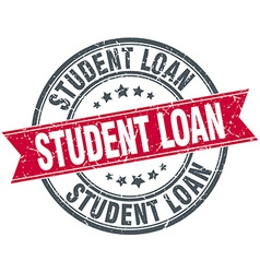 Student loan red round grunge vintage ribbon stamp vector