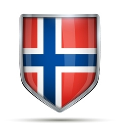 Shield with flag norway vector