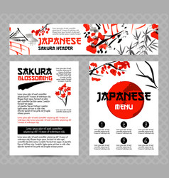 banners or posters set with asia landscapes vector image vector image