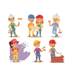 Builders kids charcaters vector