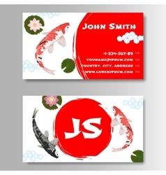 Carp koi asian style template business card vector