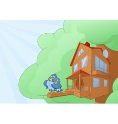 Comfortable bird house vector image