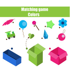 educational children game matching game worksheet vector image