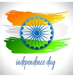 Happy india independence day postcard with ashoka vector