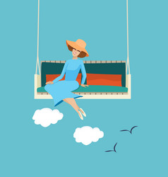 Happy woman relaxing in the summer sunshine vector