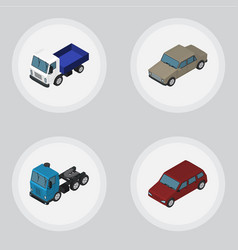 Isometric automobile set of lorry truck auto and vector