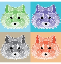 Low poly lined foxes set vector