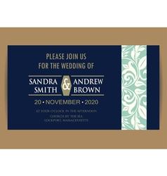 Navy blue wedding invitation vector