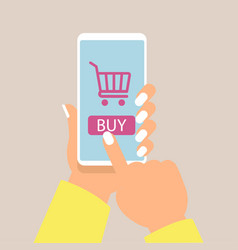 online shopping concept with women hand holding vector image vector image